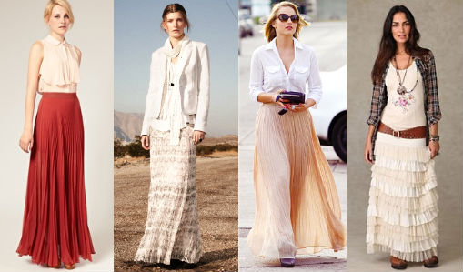 с чем можно носить длинную плиссированную юбку.