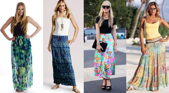 С чем носят длинные летние юбки фото