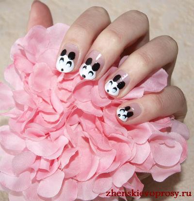 маникюр панда фото