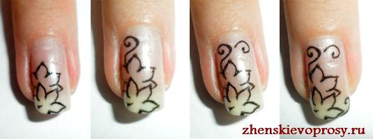 какрисовать цветы на ногтях