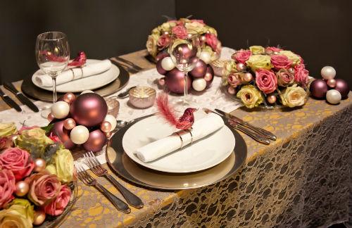 """оформление новогоднего стола в стиле """"романтик"""""""