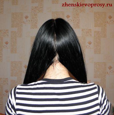волосы делятся на две пряди