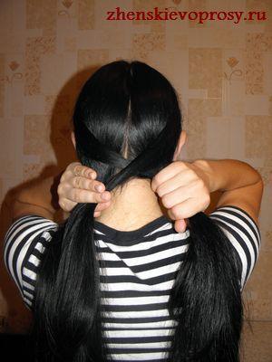 прядь волос переносится  справа налево