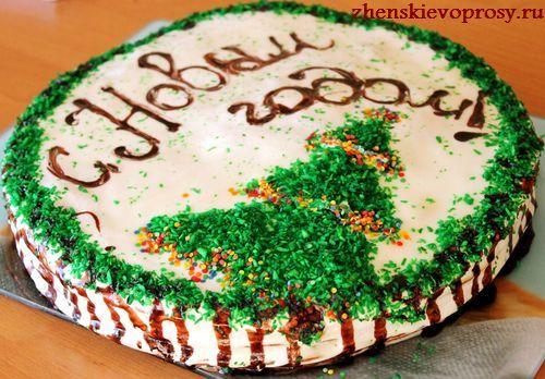 оформление новогоднего торта