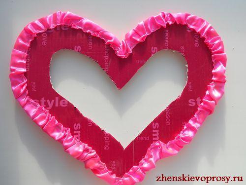 прикрепляем оборку к сердцу