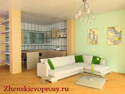 Зона гостиной-кухни в однокомнатной квартире
