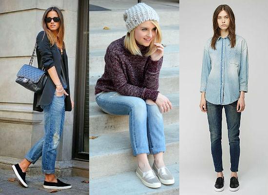 слипоны с джинсами-бойфрендами