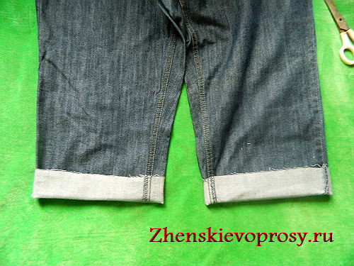 Как сделать с джинсов шорты с манжетом
