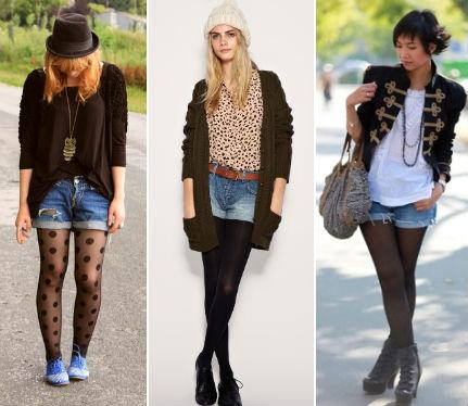 джинсовые шорты с колготками фото