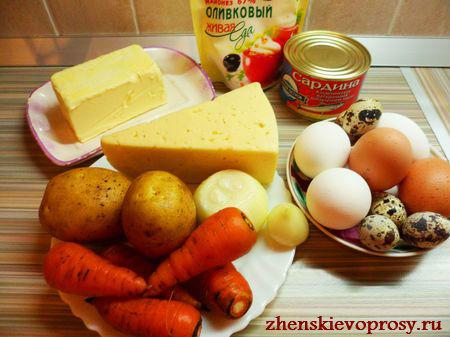 """ингредиенты для классического салата """"Мимоза"""""""
