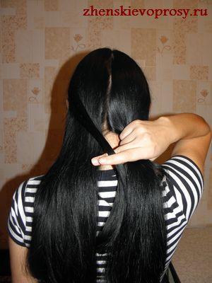 прядь волос переносится слева направо