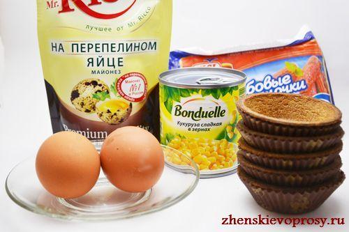 ингредиенты для тарталеток с начинкой