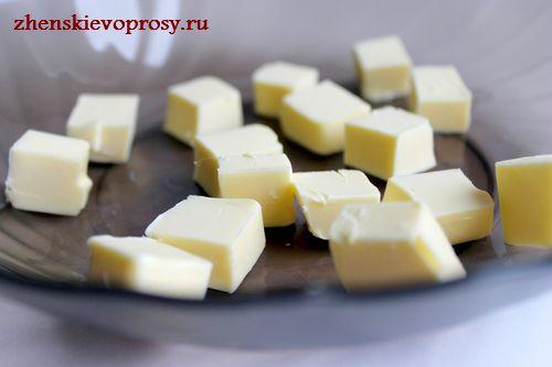 масло нарезать кубиками