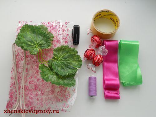 материалы для цветка из конфет