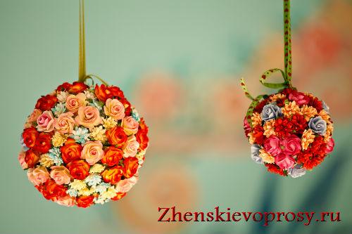 шары из искусственных цветов