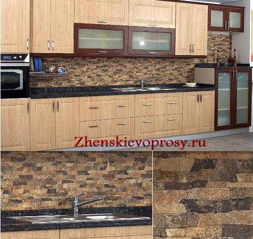 отделка кухонного фартука декоративным камнем