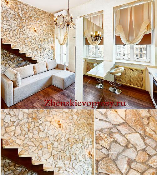 отделка стены в гостиной декоративным камнем