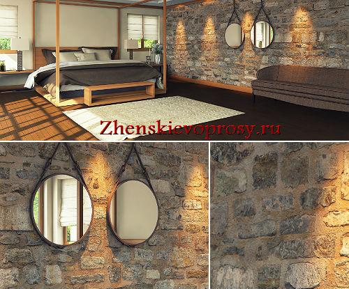 искусственный камень в интерьере спальни