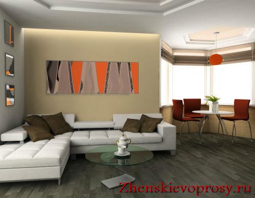 Зона гостиной-столовой в однокомнатной квартире