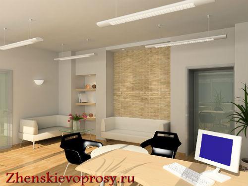 Зона гостиной-кабинета в однокомнатной квартире