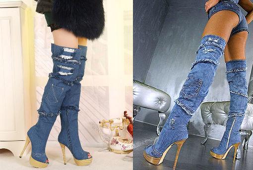 летние джинсовые сапоги