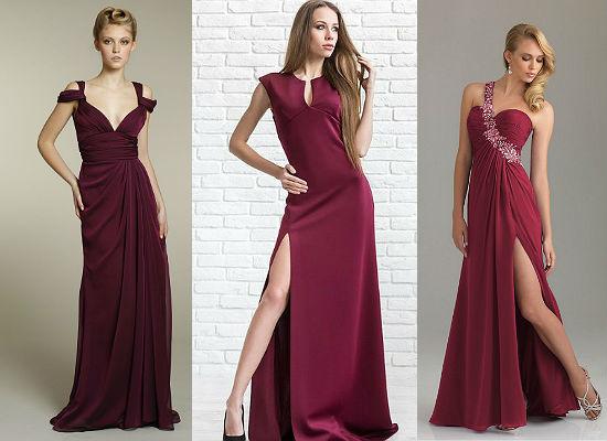 вечерние платья цвета марсала